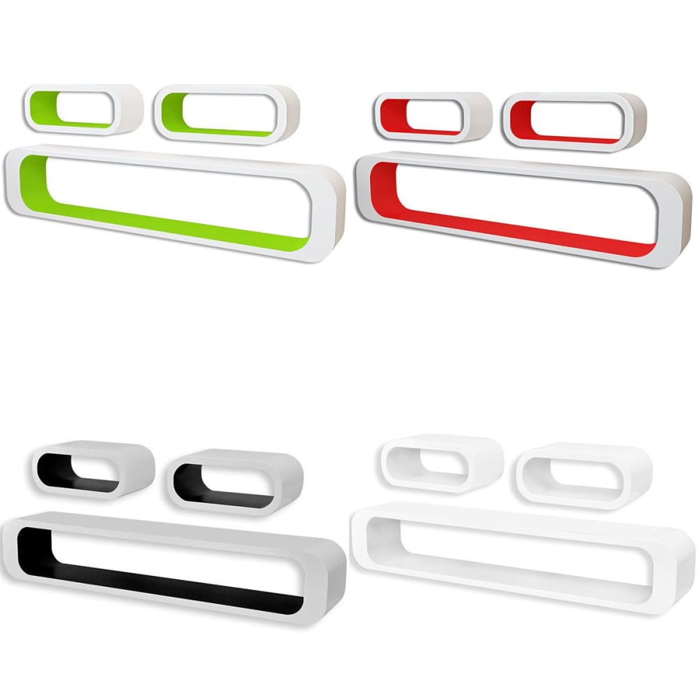 vidaXL 3pcs Display Storage Cube Floating Wall Shelf Set White/Black/Red/Green - White