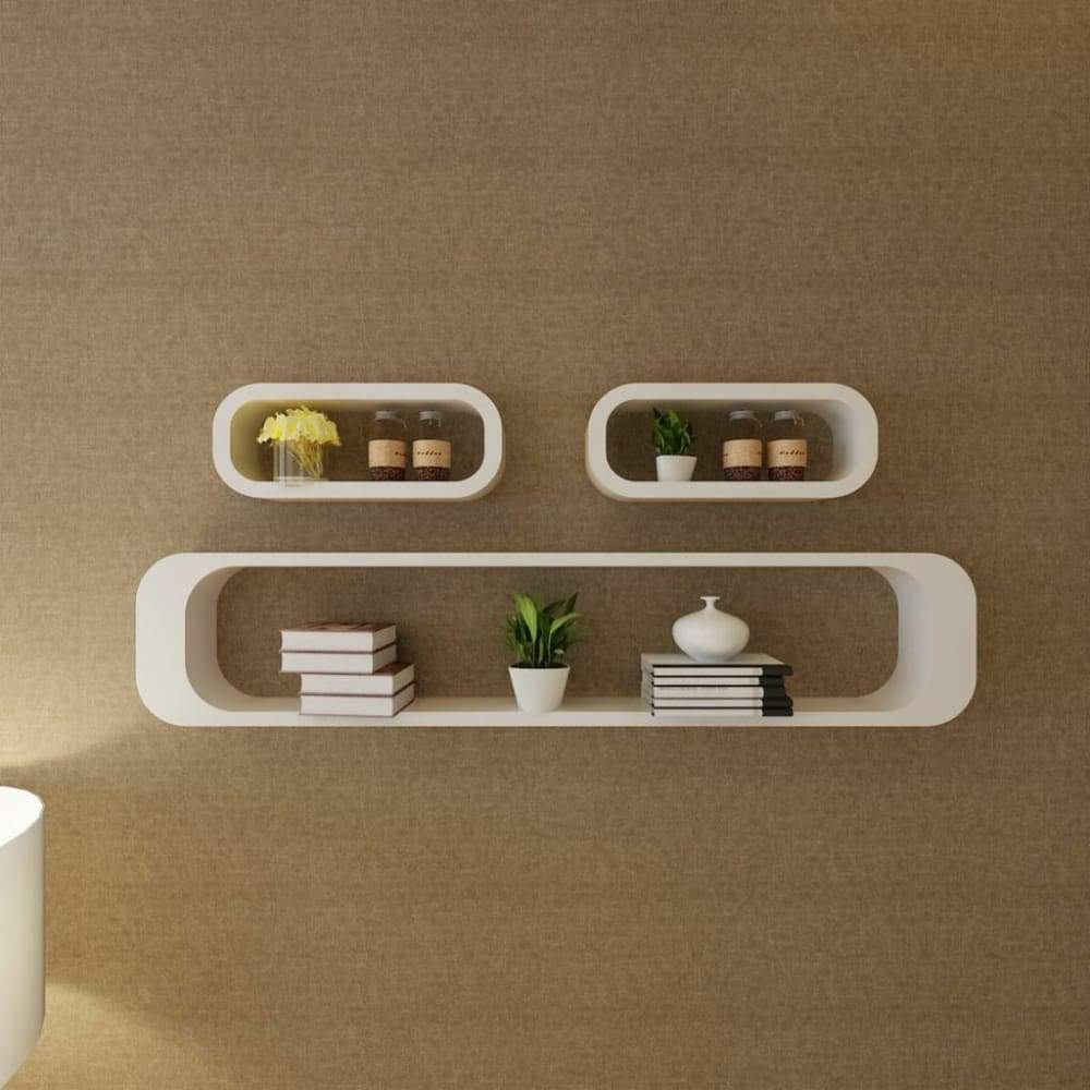 vidaXL 3pcs Display Storage Cube Floating Wall Shelf Set White/Black/Red/Green