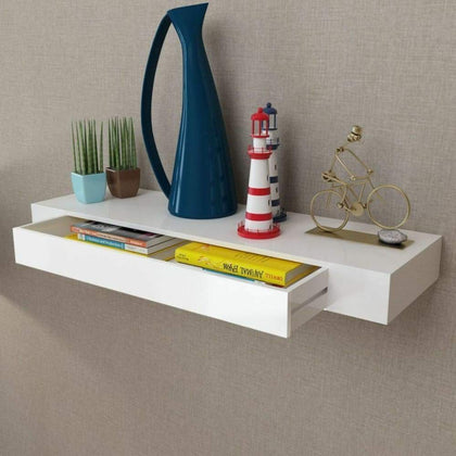 vidaXL White Floating Wall Shelf Display Storage with Drawer 19/31.5