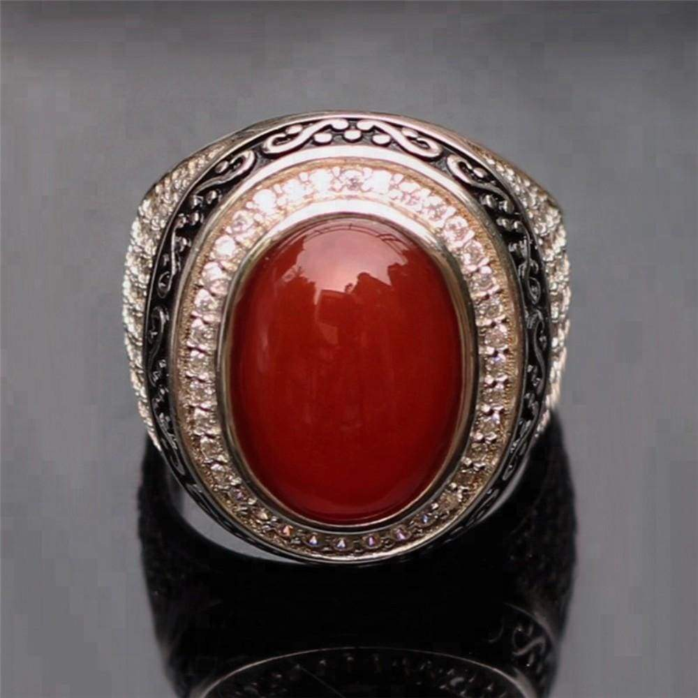 Vintage Ring Turkish Red Agatering Gemstone Silver Rings