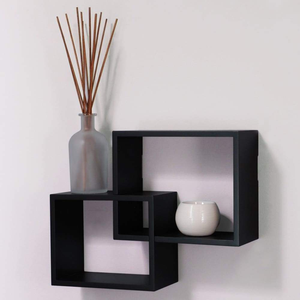 Wall Shelves Storage Display Floating Square Interlocking Home Decor 2 Piece Set