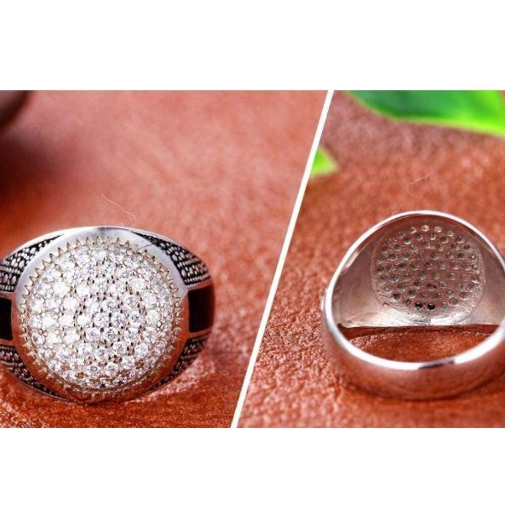 Wholesale Cheap 925 Sterling Silver Zircon Finger Round Ring For Men