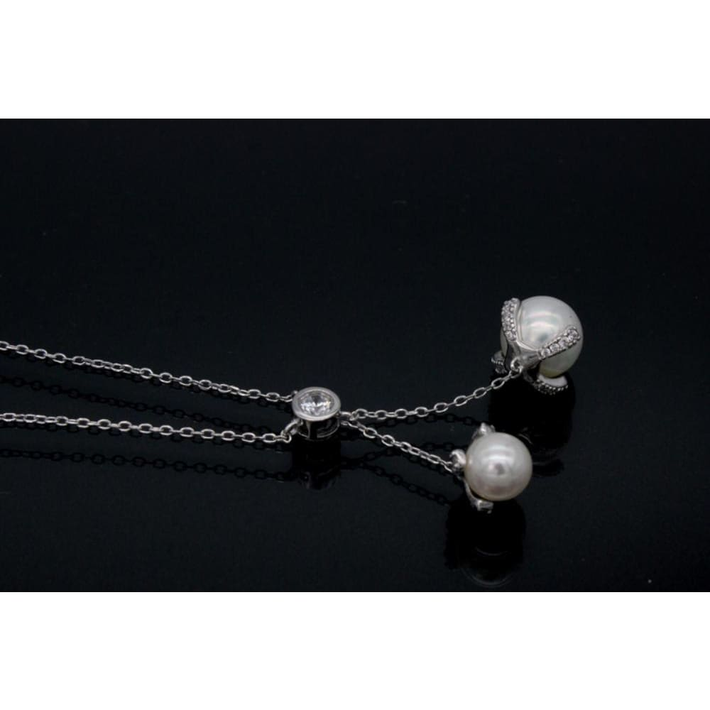 Wholesale Made In China Hanging Pearl Tassels Zircon Silver Charm Necklace View pearl necklace Honshense Product Details from Haifeng County