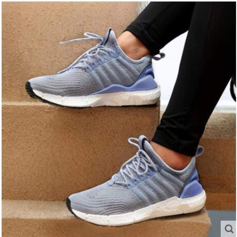 (Women)Xiaomi FREETIE sports shoes light ventilate elastic Knitting breathable refreshing city Running Sneaker - Milk tea Lavender / 5.5