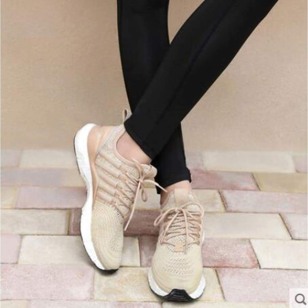 (Women)Xiaomi FREETIE sports shoes light ventilate elastic Knitting breathable refreshing city Running Sneaker - Milk tea / 5.5