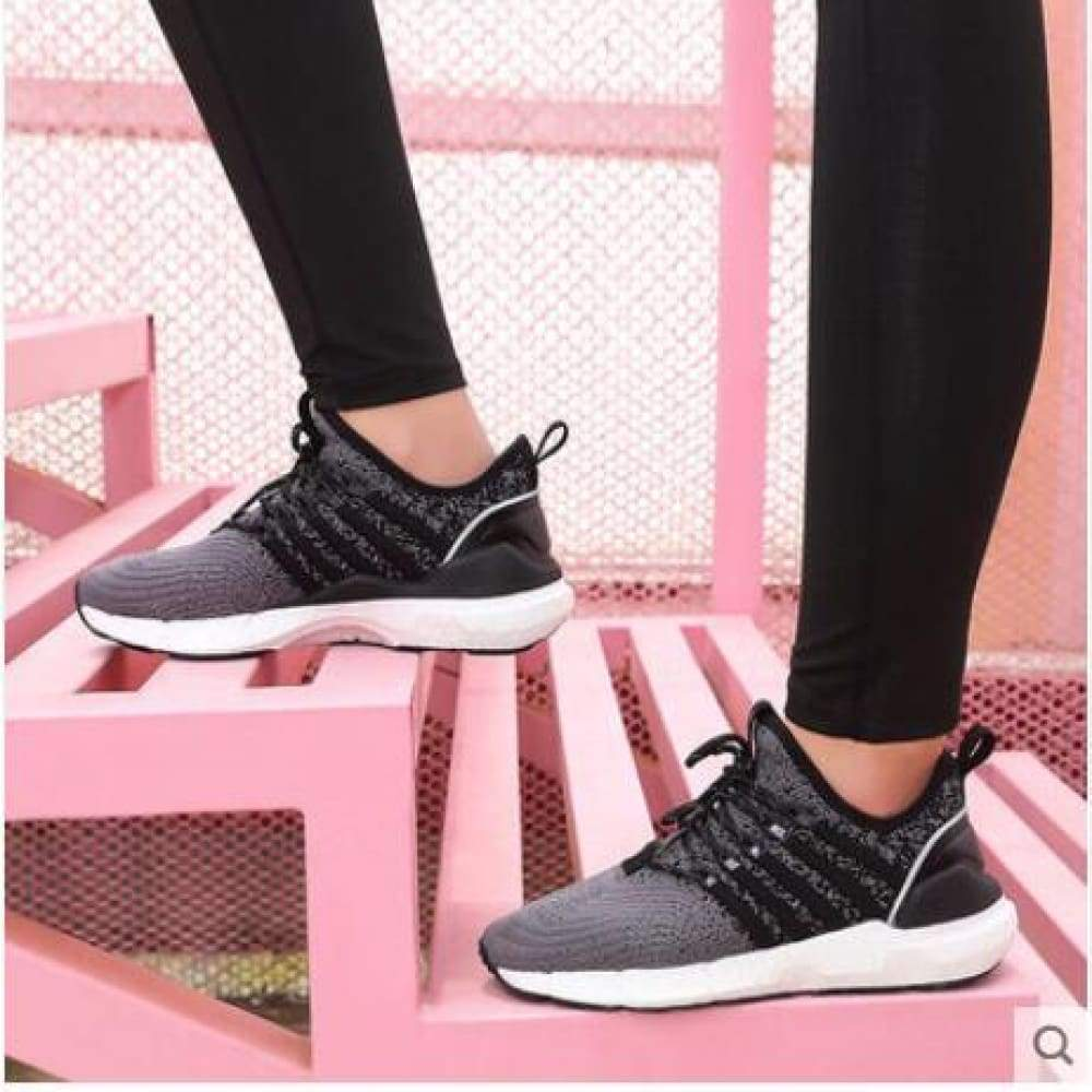 (Women)Xiaomi FREETIE sports shoes light ventilate elastic Knitting breathable refreshing city Running Sneaker - Women black / 5.5