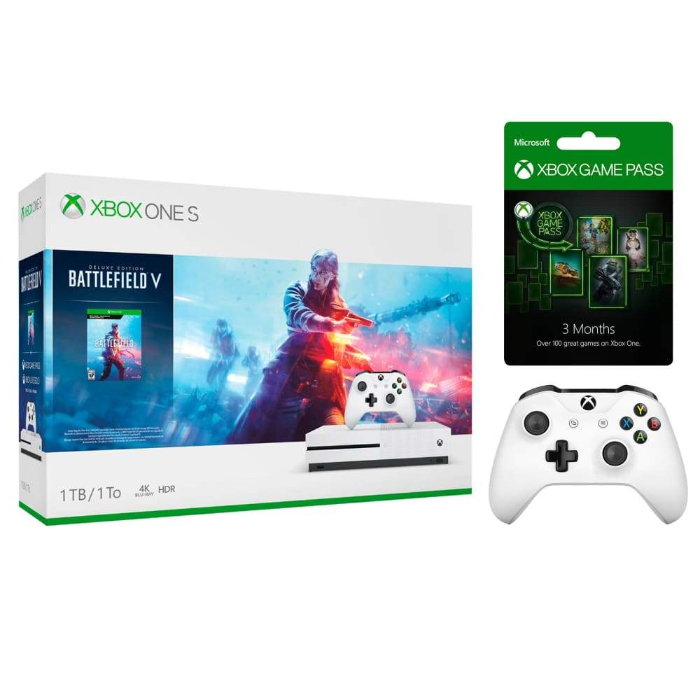 Xbox One S 1TB Battlefield V Bundle with 2 Controllers and 3 Month Game PassXbox Pass