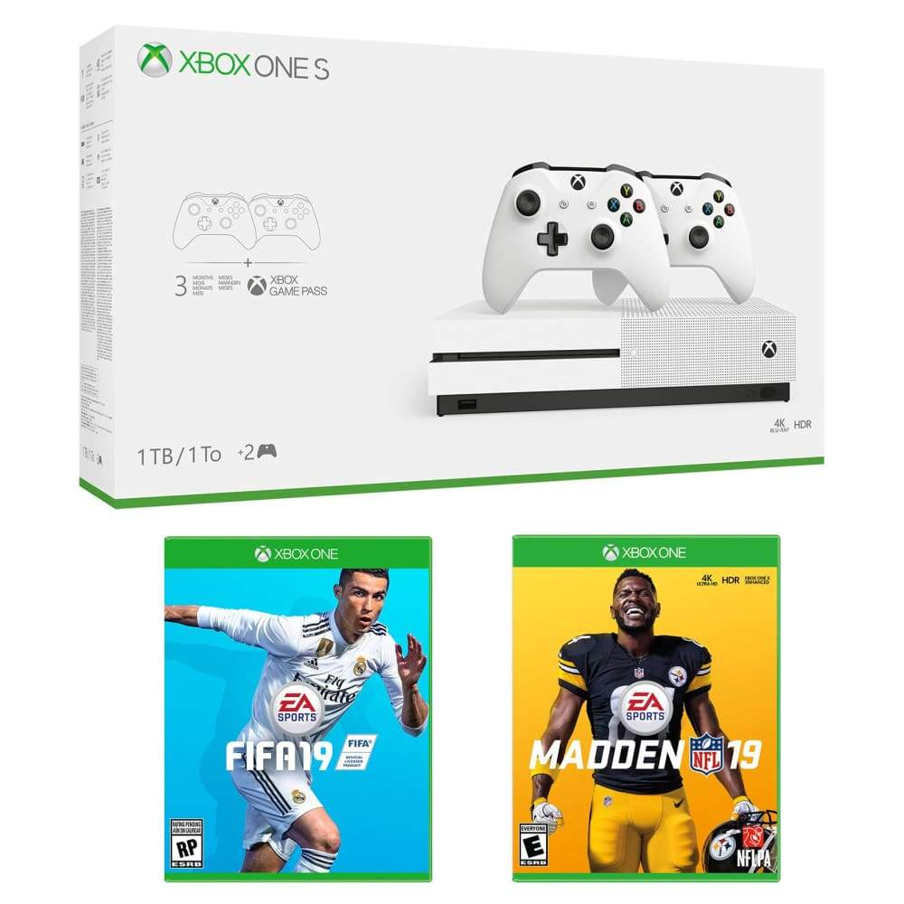 Xbox One S 1TB Bundle with 2 Controllers Madden 19 FIFA and 3 Month Game PassXbox Pass