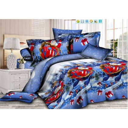 Merry Santa Claus 3D Printed Bedding Set - Blue christmas / 150x210 - Home Decor $39 Free Shipping Worldwide