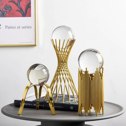 Parametric Golden Metal Stand with Clear Crystal Ball Table Decor - Home $29 Free Shipping Worldwide