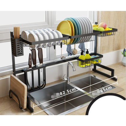Dish Drying Rack Stainless steel Customizable Over Sink - Black / 85cm - Kitchenware $169 Free Shipping Worldwide
