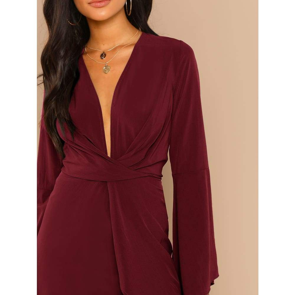 Plunge Neck Bell Sleeve Dress - Party