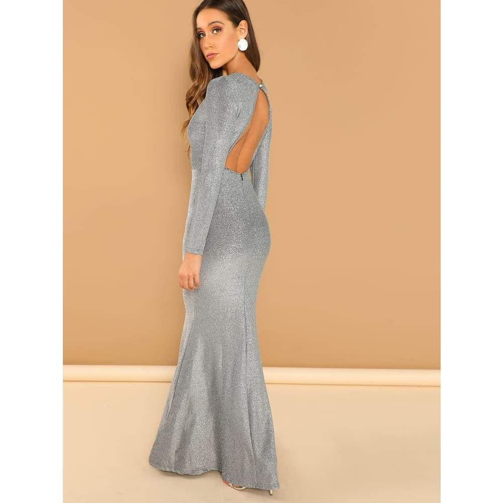 Solid Split Hem Maxi Dress - Party