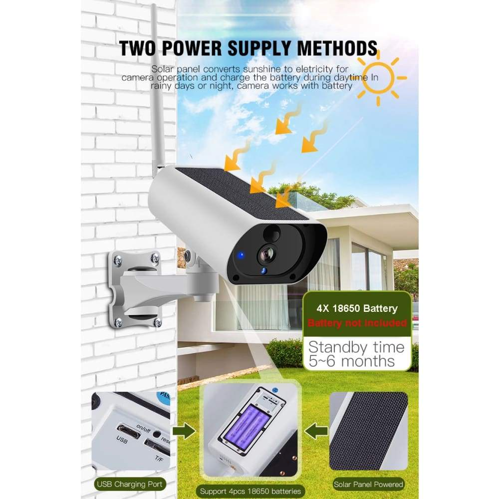DE CAMERA 1080P CCTV IP Outdoor solis WiFi Security - & custodia circumdant
