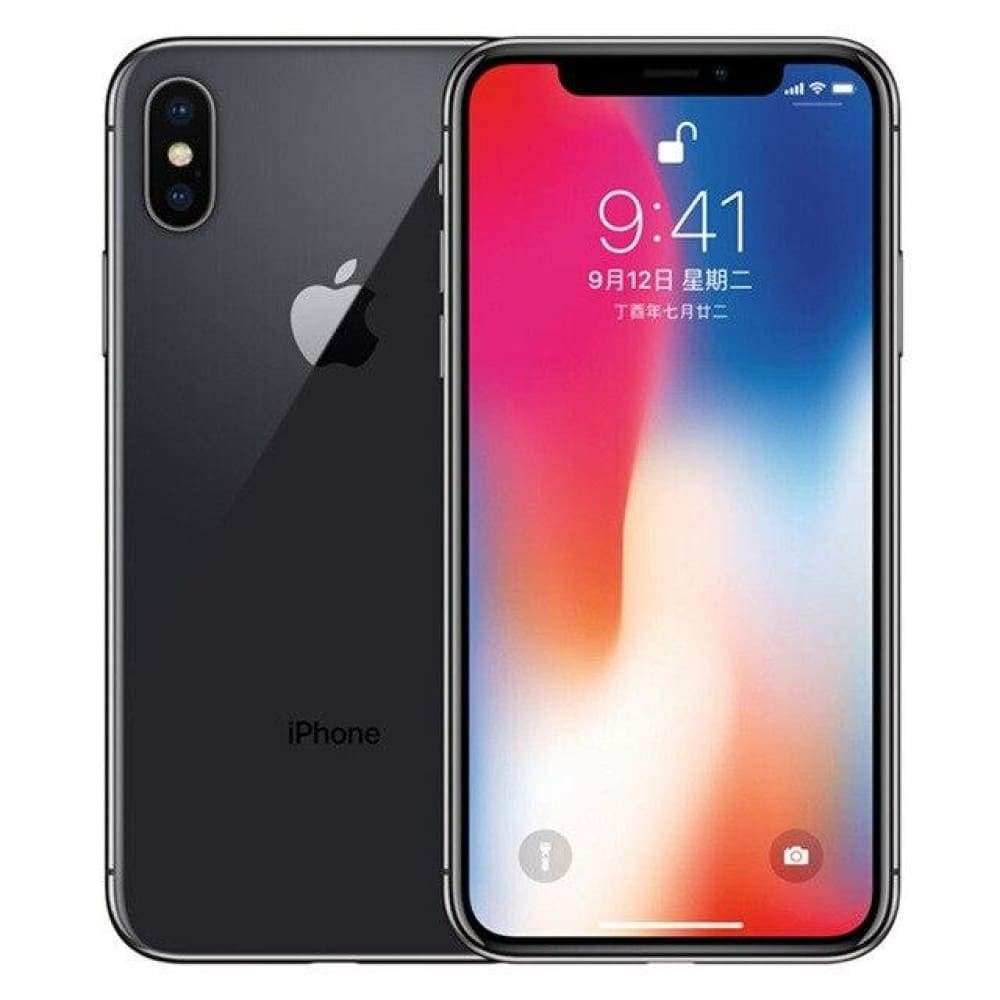 Original Apple iPhone X Face ID 3GB RAM 64GB/256GB ROM 5.8 inch 12MP Hexa Core iOS A11 Dual Back Camera 4G LTE iphonex - Grey / 256GB Set -