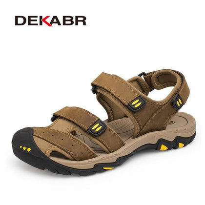 Men Sandals New Leather Non-slip Rubber Soles Beach Shoes - Sneakers