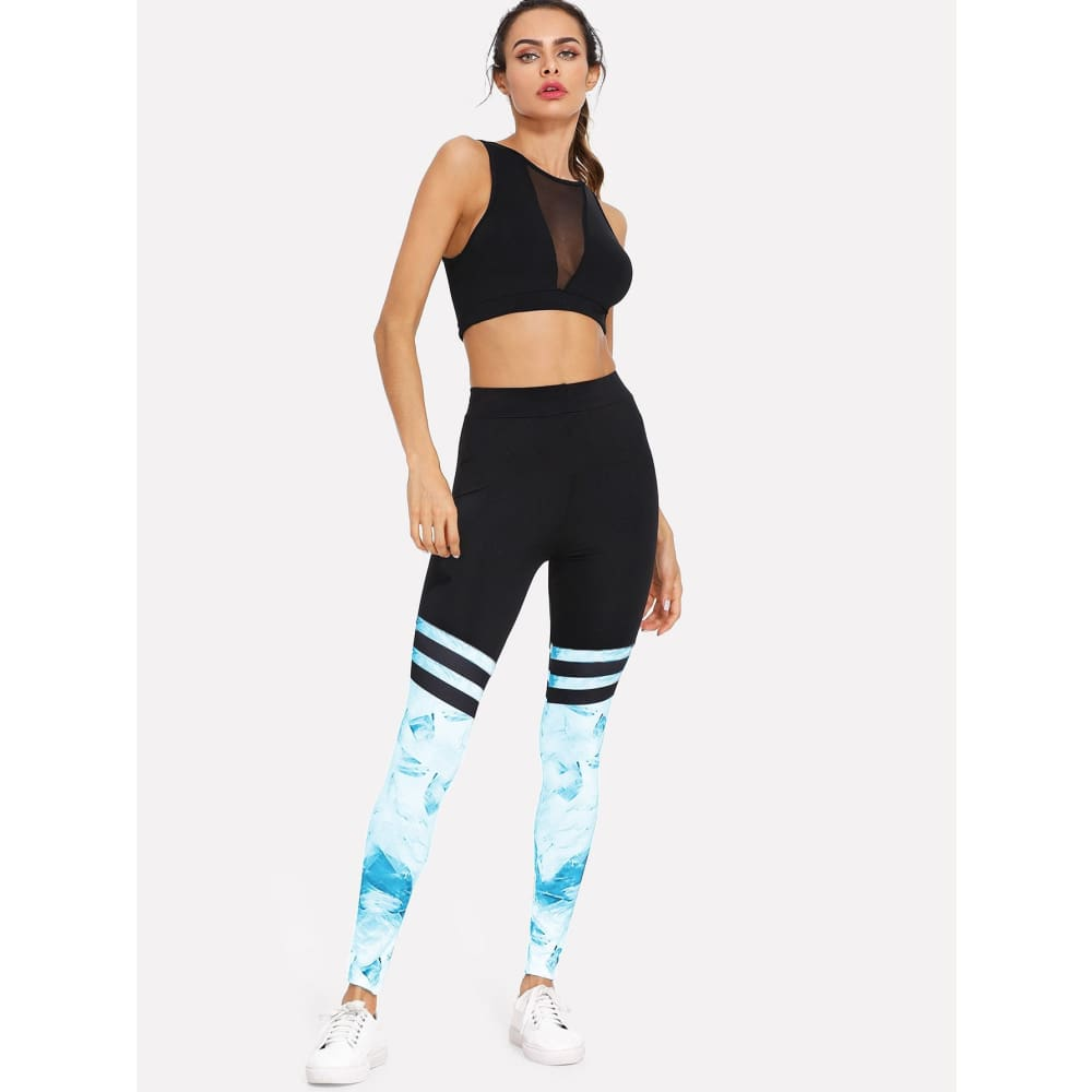 Contrast Panel Varsity-Striped Leggings - Sporty