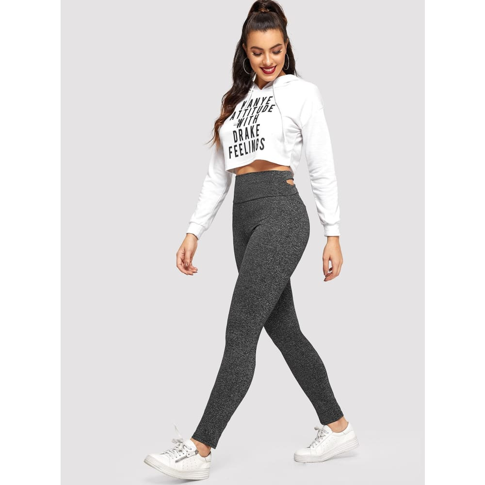 Criss Cross Solid Leggings - Sporty