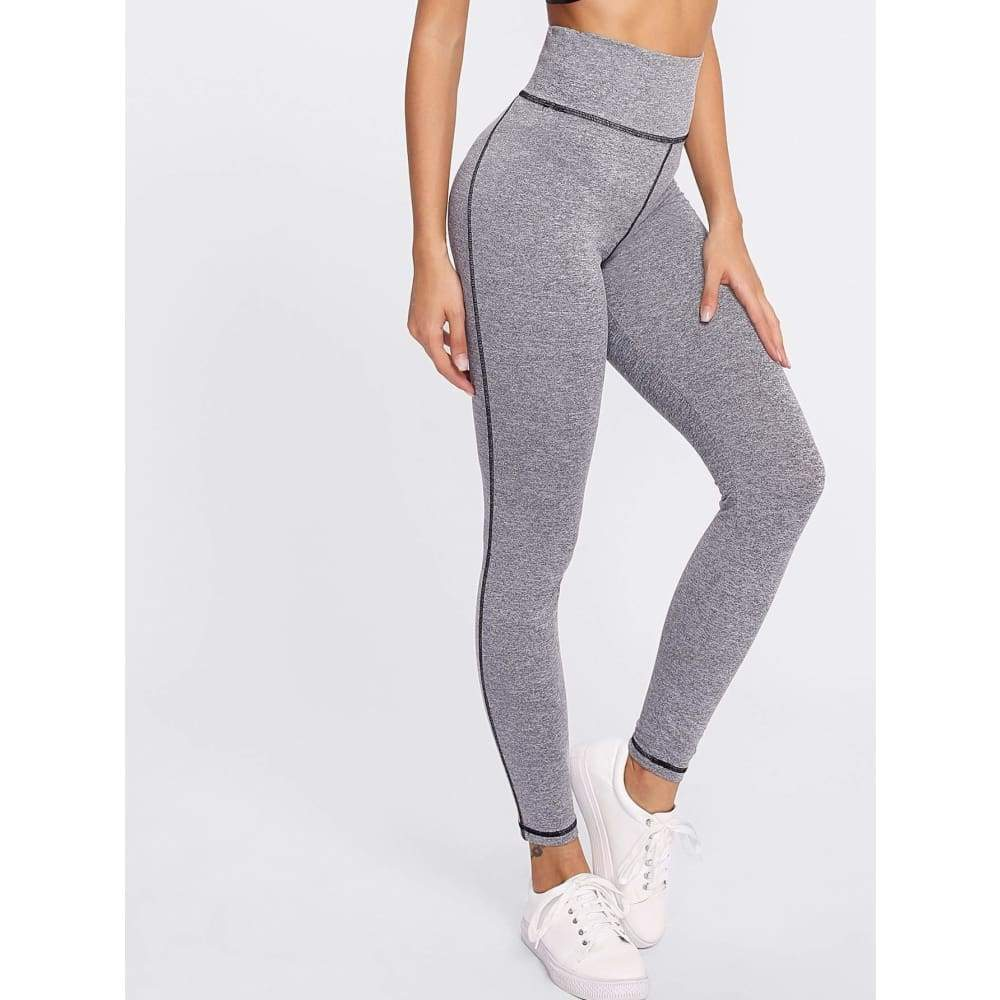 High Waist Marled Knit Leggings - XS - Sporty