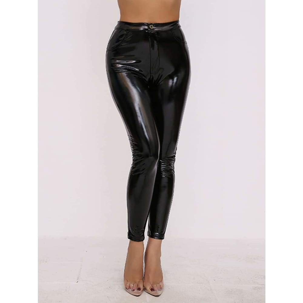 Joyfunear Faux Patent Skinny Pants - Weekend Casual
