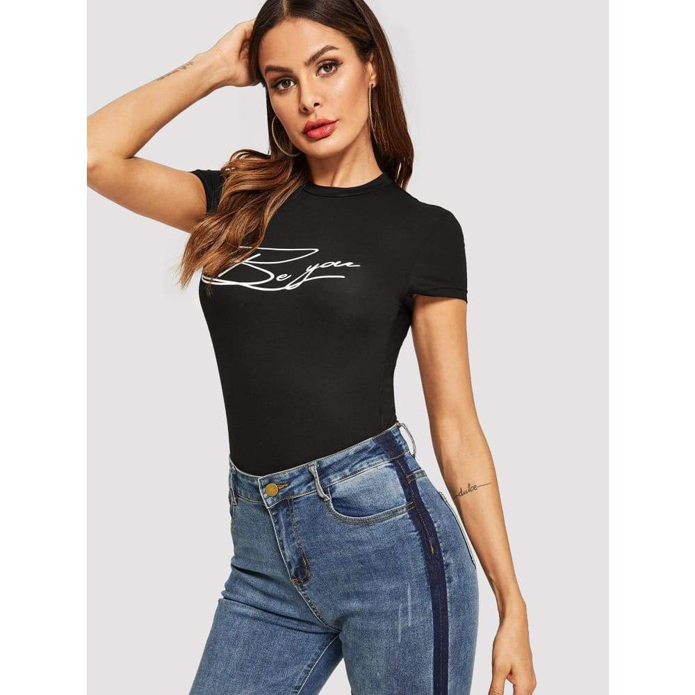 SHEIN Embroidered Letter Form Fitting Tee - Weekend Casual