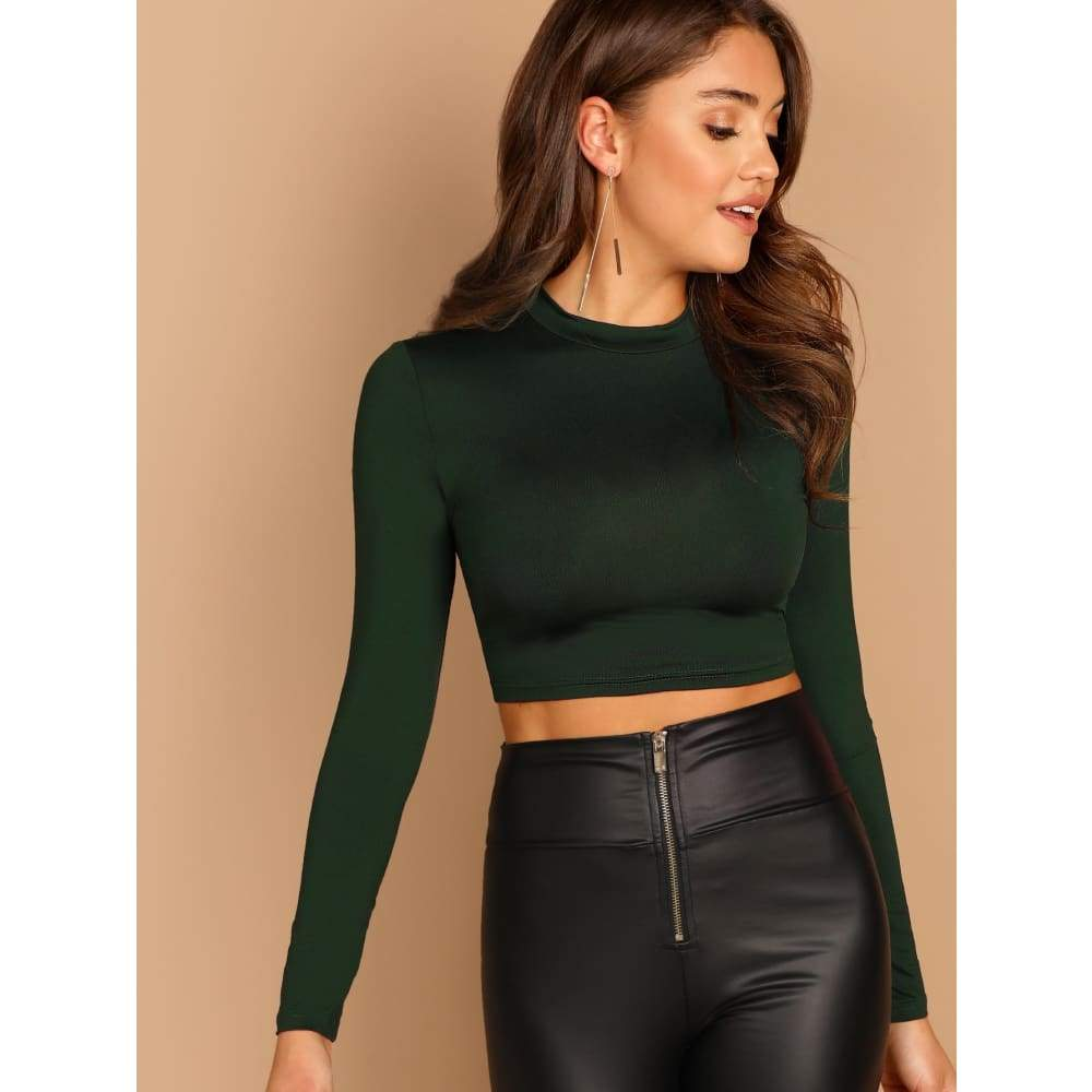 Slim Fitted Solid Crop Tee - Weekend Casual