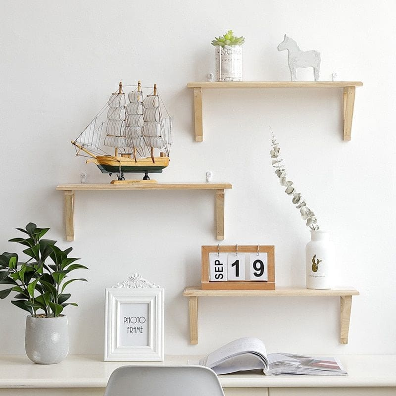 Wooden Wall Mount Shelf Holder Rack Home Decor Bedroom Organizer Kitchen Storage