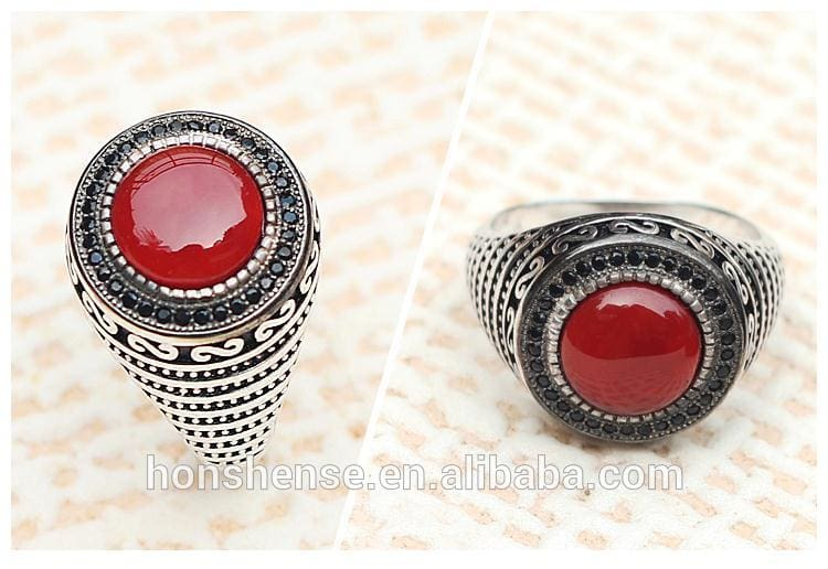 Red Aqeeq Stone Agate Rings 925 Sterling Silver w/ filigree Ring Indian Red Agate Rings Design for Men