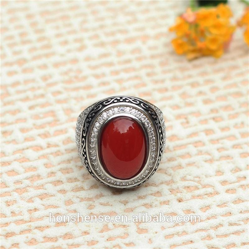 Hot selling turkish rings men silver ring red agate ring in 925 sterling silver with low price