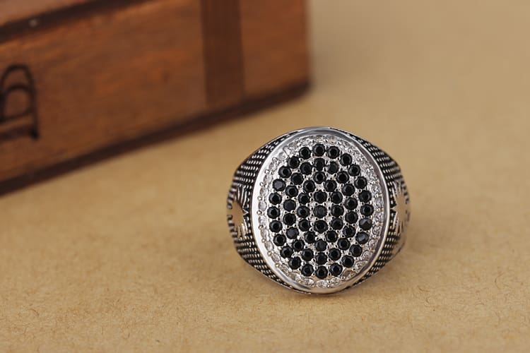 Fashion Platinum Plating  CZ Diamond 925 Silver Ring Men