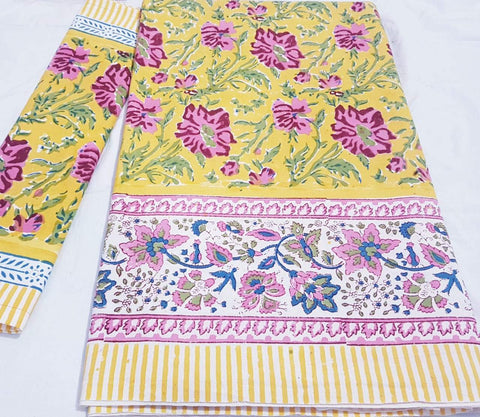 Yellow with pink floral printed bedspread