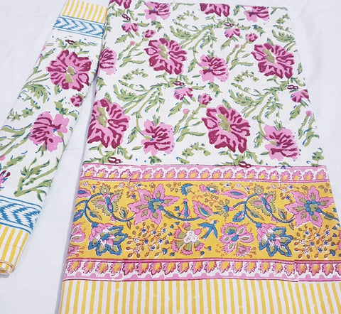 White with pink floral printed bedspread