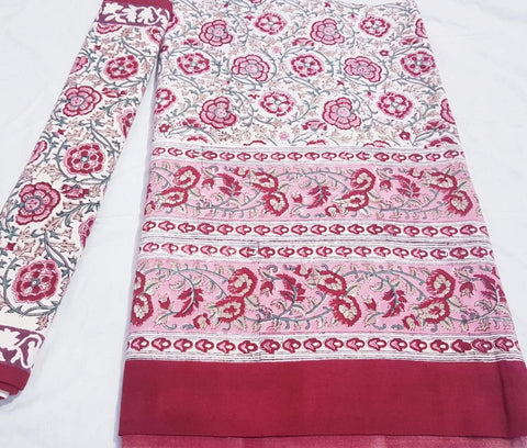 White with maroon floral printed bedspread