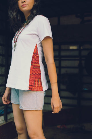 white organic Tshirt with red lambani patch work on sides
