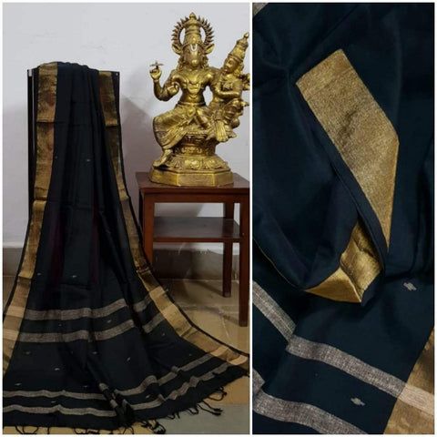 Bottle Green Handloom Dupatta with gold border and stripped geecha borders