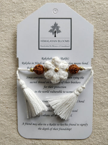 White Small Embozed Flower Rakhi with Rudraksha beads