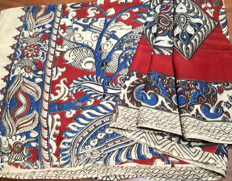 Red All Over Design Kalamkari Saree
