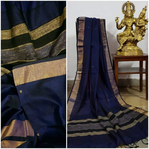 Royal Blue Handloom Dupatta with gold border and stripped geecha borders