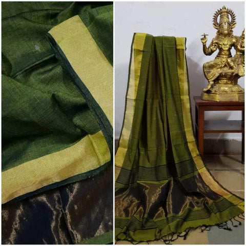 Mehendi Green Handloom Dupatta with gold borders