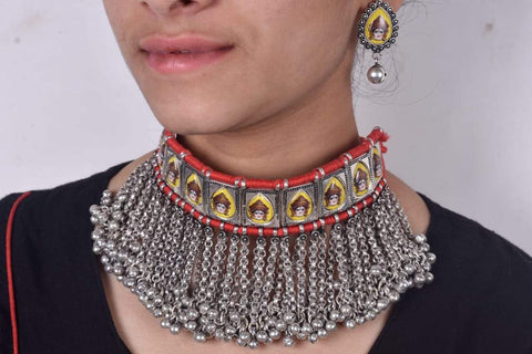 Vintage Durgamma tribal necklace with red dori and earrings