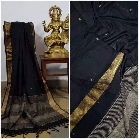Black Handloom Dupatta with gold border and stripped geecha borders