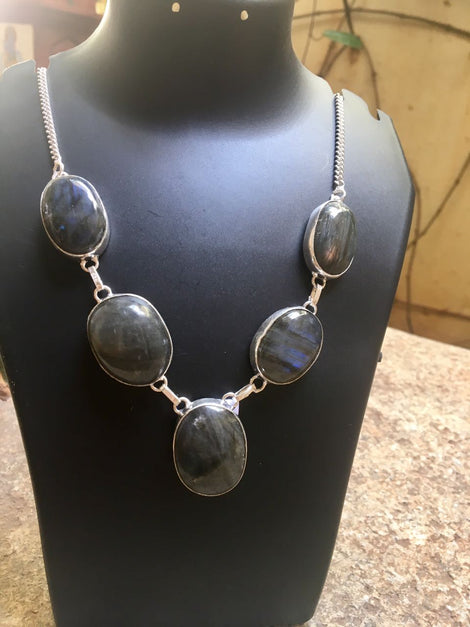 Silver toned Necklace set with Black cut stones