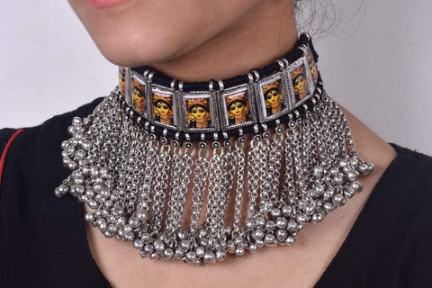 Classic Durgamma tribal necklace with black dori and earrings
