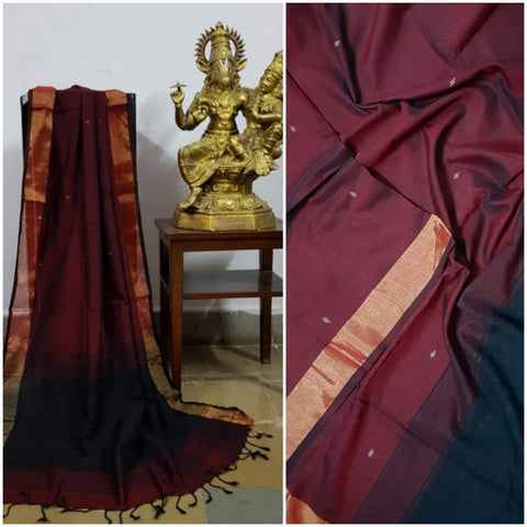 Maroon Handloom Dupatta with gold border and stripped geecha borders