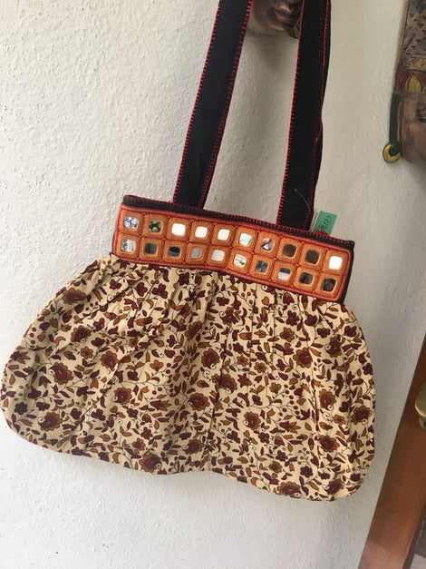 Beige Shoulder Bag With Mirror work