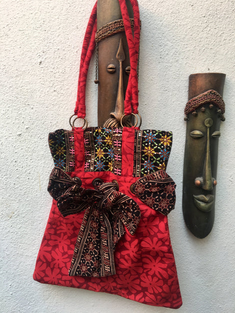 Red with Black Kutch Bag