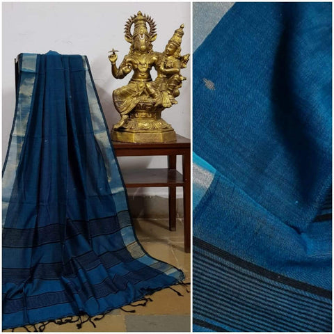 Teal Blue handloom Dupatta with gold/black borders