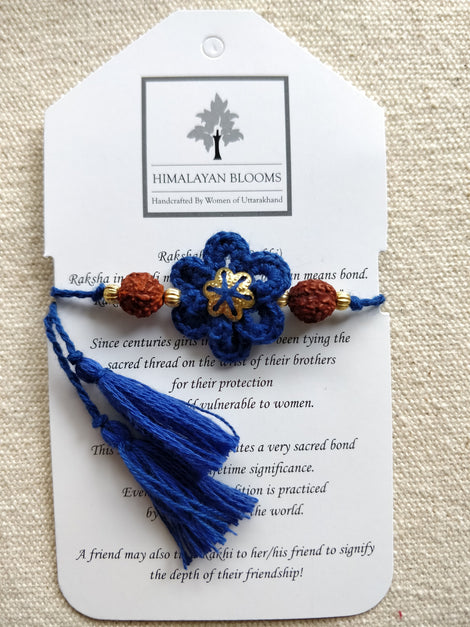 Blue Loop Flower Rakhi with Rudraksha beads