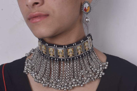 Vintage Durga maa tribal necklace with black dori and earrings