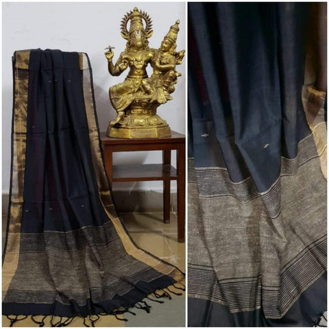 Black handloom dupatta with subtle gold and geecha borders